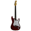 Michelsen ST-100 elektrisk gitarpakke, m/ bag + tuner, metallisk rød / rosentre gripebrett